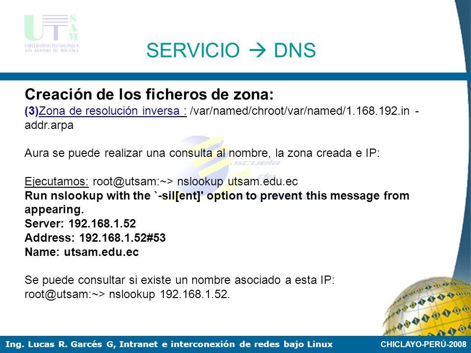 CHICLAYO-PERÚ-2008 Ing. Lucas R. Garcés G, Intranet e interconexión de redes bajo Linux SERVICIO DNS Creación de los ficheros de zona: (3)Zona de reso