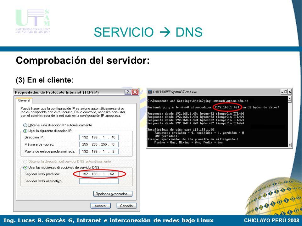 CHICLAYO-PERÚ-2008 Ing. Lucas R. Garcés G, Intranet e interconexión de redes bajo Linux SERVICIO DNS Comprobación del servidor: (2)Iniciar el servicio
