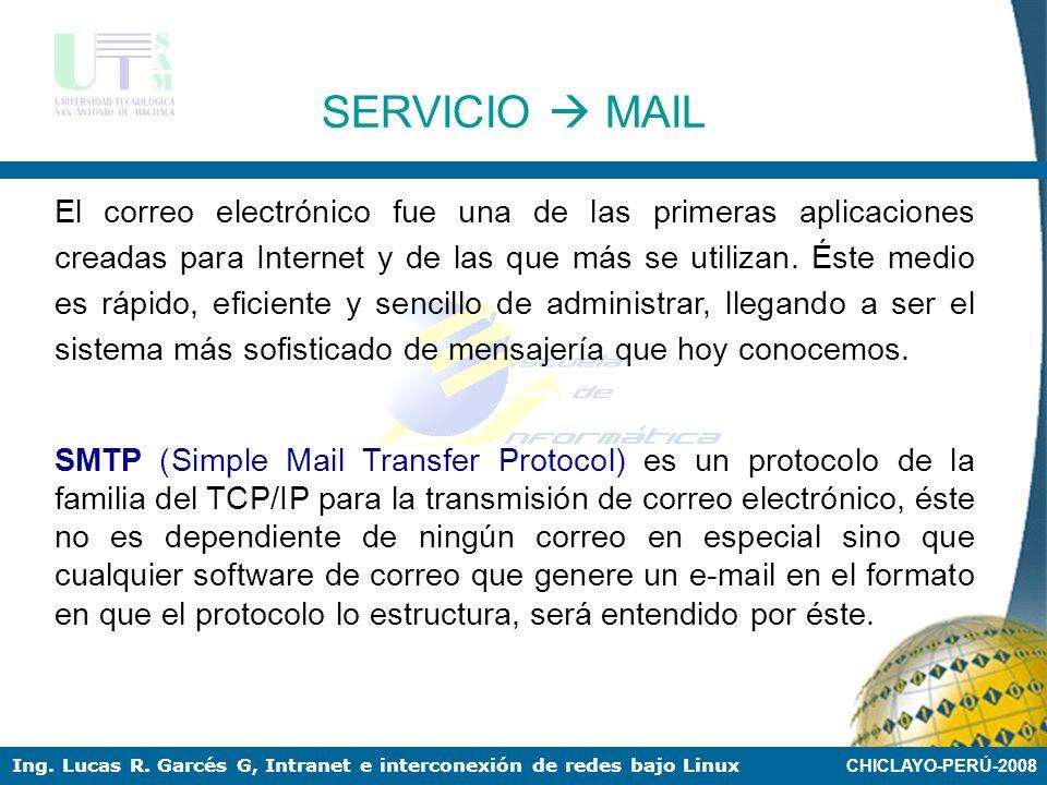 CHICLAYO-PERÚ-2008 Ing. Lucas R. Garcés G, Intranet e interconexión de redes bajo Linux SERVICIO DNS Comprobación del servidor: (3) En el cliente: