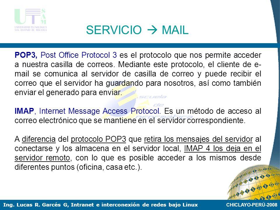 CHICLAYO-PERÚ-2008 Ing. Lucas R. Garcés G, Intranet e interconexión de redes bajo Linux El correo electrónico fue una de las primeras aplicaciones cre
