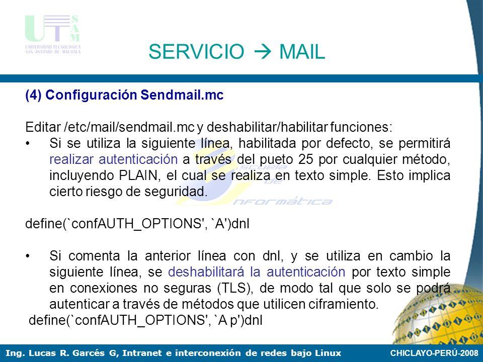 CHICLAYO-PERÚ-2008 Ing. Lucas R. Garcés G, Intranet e interconexión de redes bajo Linux (2) Estableciendo Dominios Establecer dominios a administrar e