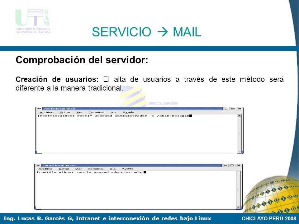 CHICLAYO-PERÚ-2008 Ing. Lucas R. Garcés G, Intranet e interconexión de redes bajo Linux SERVICIO MAIL Comprobación del servidor: Es importante ejecuta