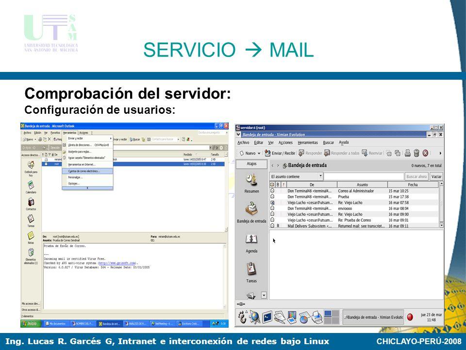 CHICLAYO-PERÚ-2008 Ing. Lucas R. Garcés G, Intranet e interconexión de redes bajo Linux SERVICIO MAIL Comprobación del servidor: Creación de usuarios: