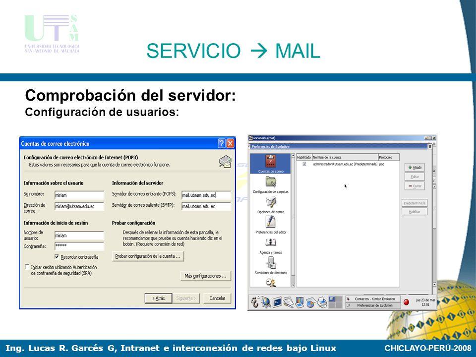 CHICLAYO-PERÚ-2008 Ing. Lucas R. Garcés G, Intranet e interconexión de redes bajo Linux SERVICIO MAIL Comprobación del servidor: Configuración de usua
