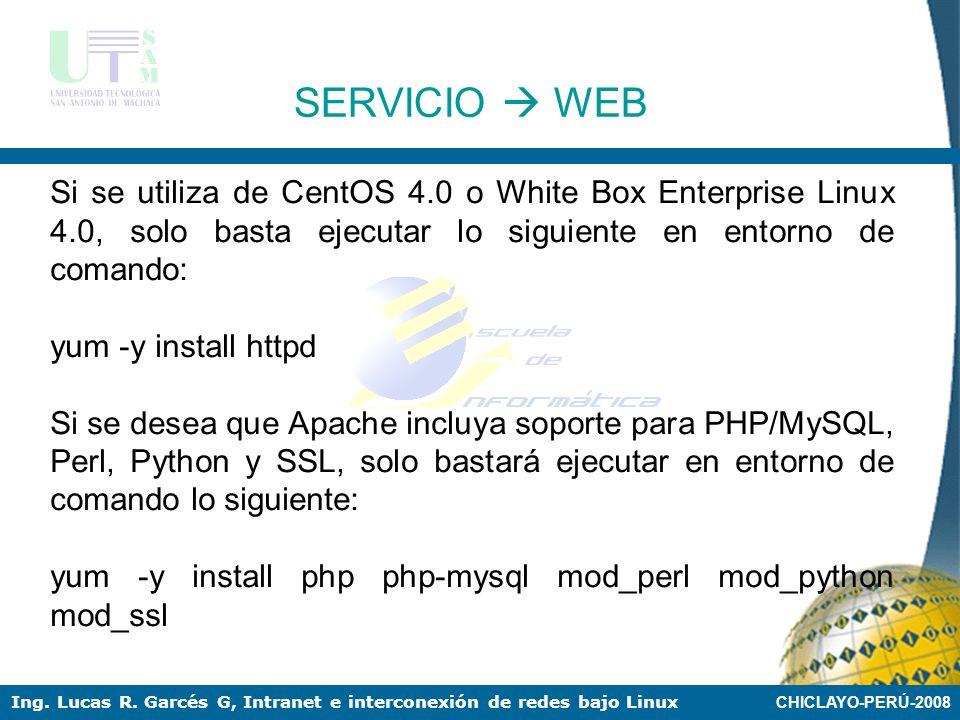 CHICLAYO-PERÚ-2008 Ing. Lucas R. Garcés G, Intranet e interconexión de redes bajo Linux Apache es el servidor Web más usado en todo el mundo con una c