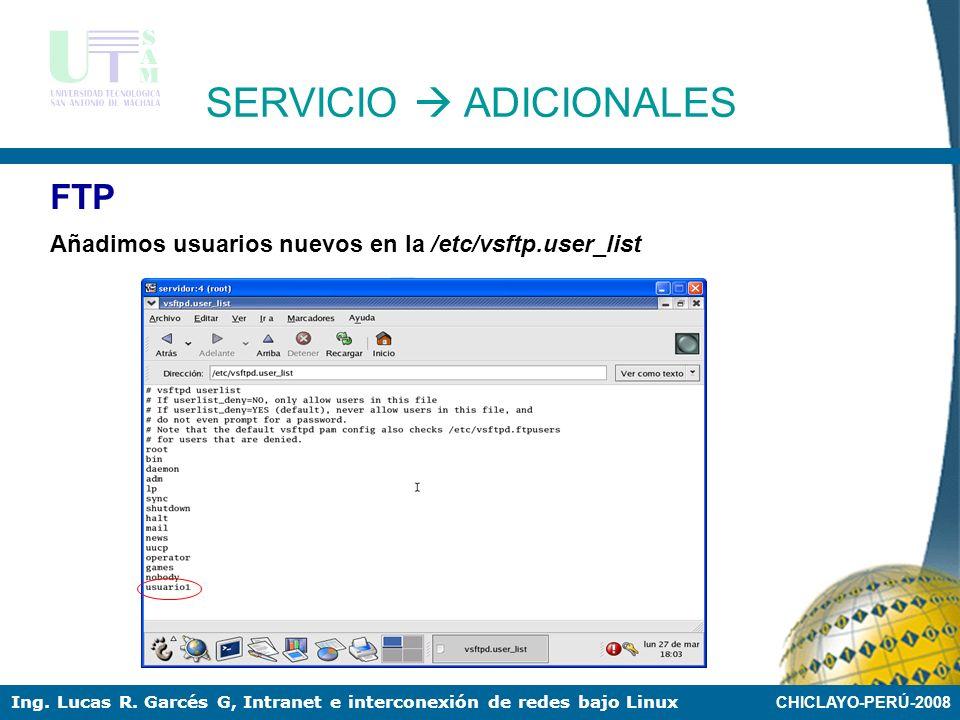 CHICLAYO-PERÚ-2008 Ing. Lucas R. Garcés G, Intranet e interconexión de redes bajo Linux FTP Configuración del servicio: /etc/vsftpd/vsftp.conf SERVICI