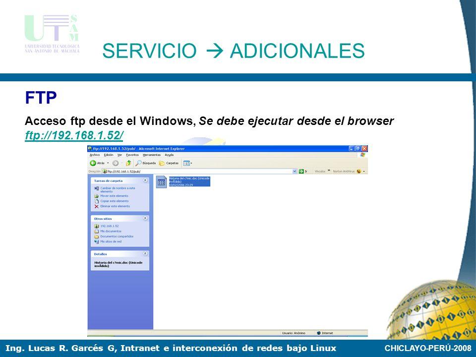 CHICLAYO-PERÚ-2008 Ing. Lucas R. Garcés G, Intranet e interconexión de redes bajo Linux FTP Añadimos los archivos para ser compartidos en la dirección