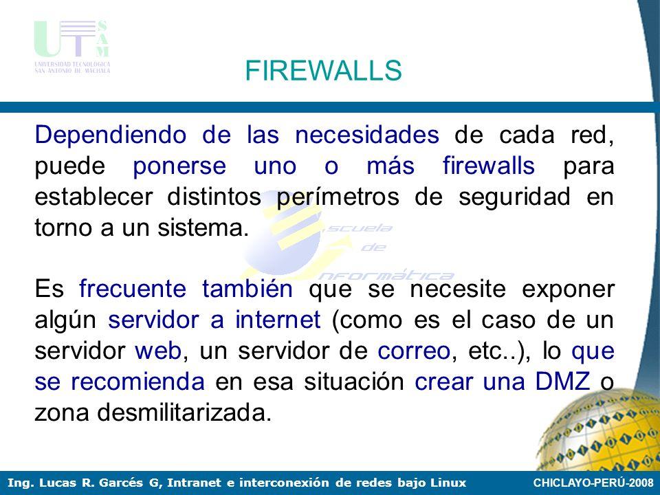 CHICLAYO-PERÚ-2008 Ing. Lucas R. Garcés G, Intranet e interconexión de redes bajo Linux FIREWALLS Esquema de firewall típico entre red local e interne