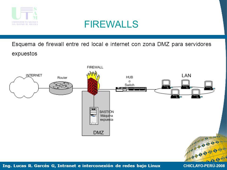 CHICLAYO-PERÚ-2008 Ing. Lucas R. Garcés G, Intranet e interconexión de redes bajo Linux FIREWALLS Dependiendo de las necesidades de cada red, puede po