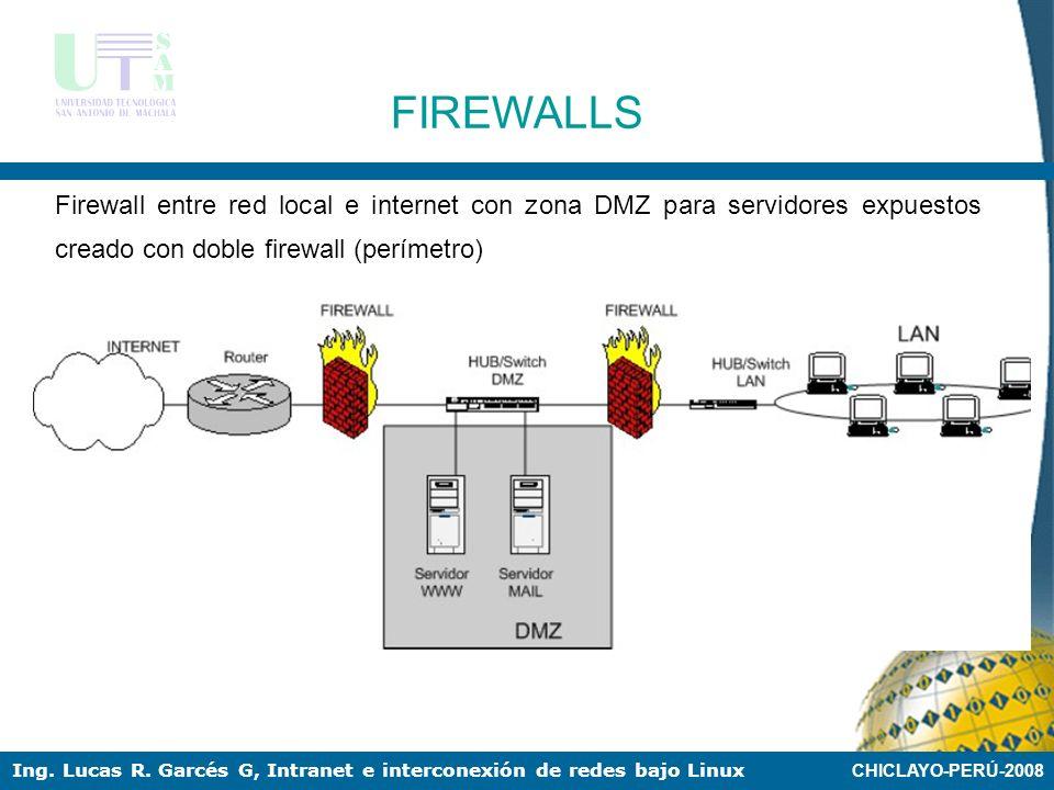 CHICLAYO-PERÚ-2008 Ing. Lucas R. Garcés G, Intranet e interconexión de redes bajo Linux FIREWALLS Esquema de firewall entre red local e internet con z