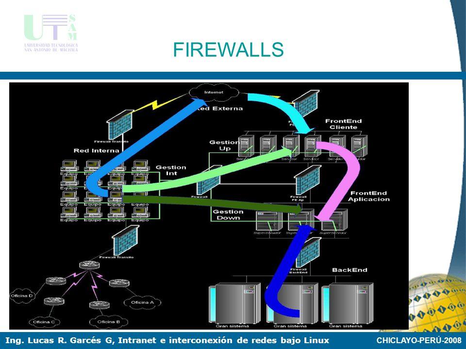 CHICLAYO-PERÚ-2008 Ing. Lucas R. Garcés G, Intranet e interconexión de redes bajo Linux FIREWALLS Firewall entre red local e internet con zona DMZ par