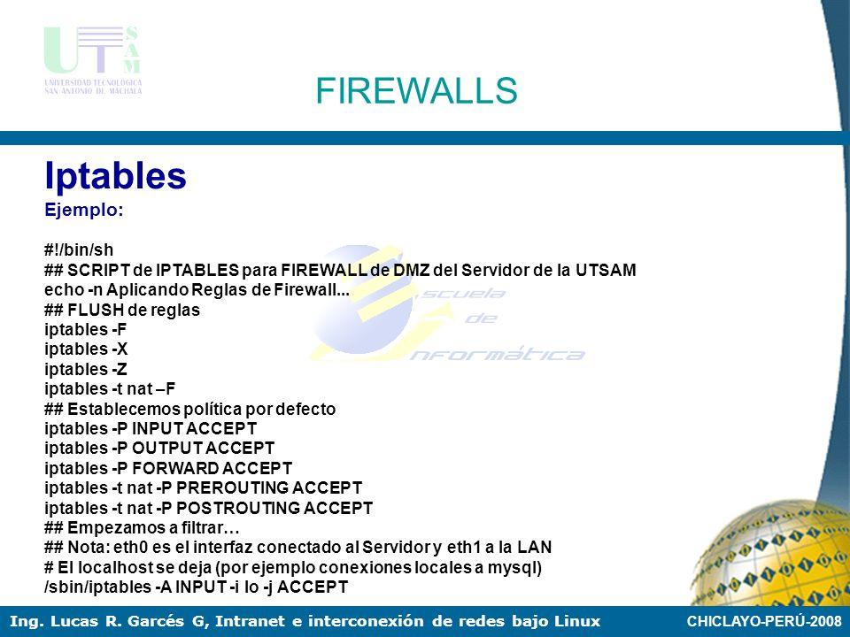 CHICLAYO-PERÚ-2008 Ing. Lucas R. Garcés G, Intranet e interconexión de redes bajo Linux FIREWALLS CAMPUSPRIMER PLANTA BAJA LABORATORIO 2 LABORATORIO 1