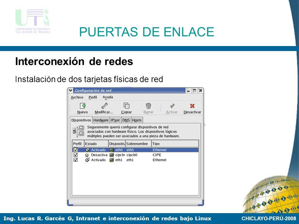 CHICLAYO-PERÚ-2008 Ing. Lucas R. Garcés G, Intranet e interconexión de redes bajo Linux PUERTAS DE ENLACE Interconexión de redes 192.168.1.2 / 2410.0.