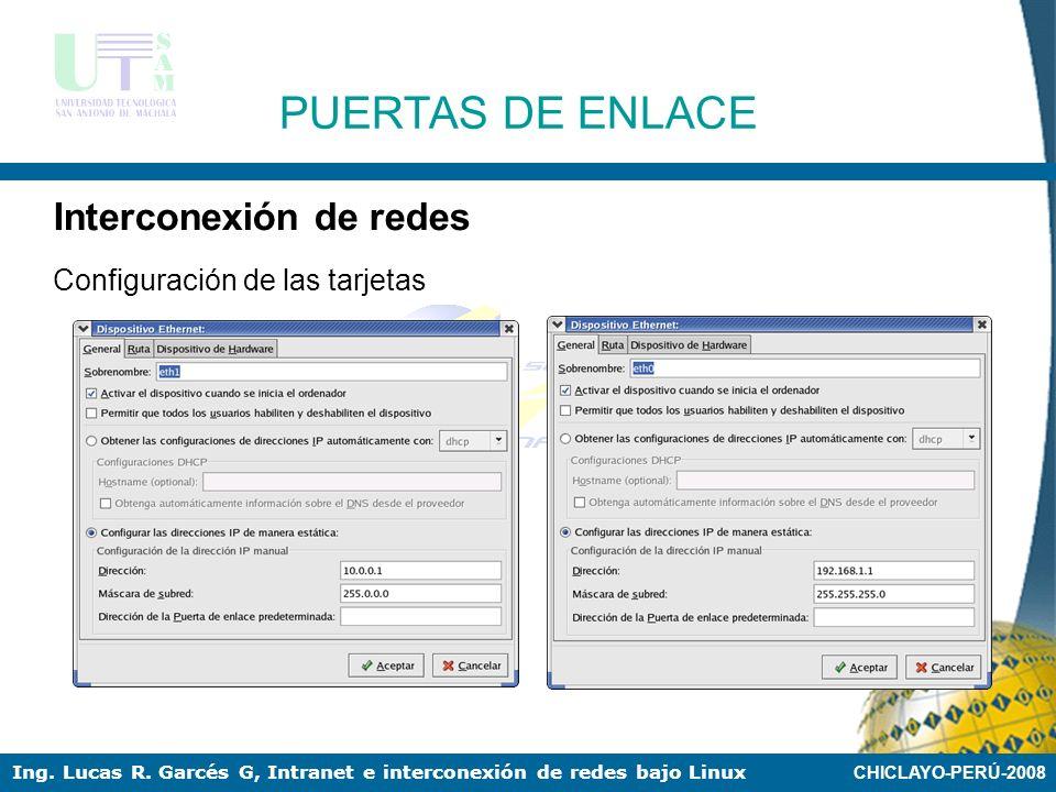 CHICLAYO-PERÚ-2008 Ing. Lucas R. Garcés G, Intranet e interconexión de redes bajo Linux PUERTAS DE ENLACE Interconexión de redes Instalación de dos ta