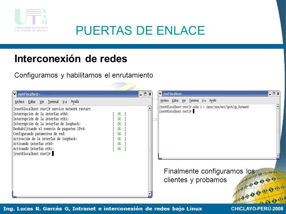 CHICLAYO-PERÚ-2008 Ing. Lucas R. Garcés G, Intranet e interconexión de redes bajo Linux PUERTAS DE ENLACE Interconexión de redes Configuración de las
