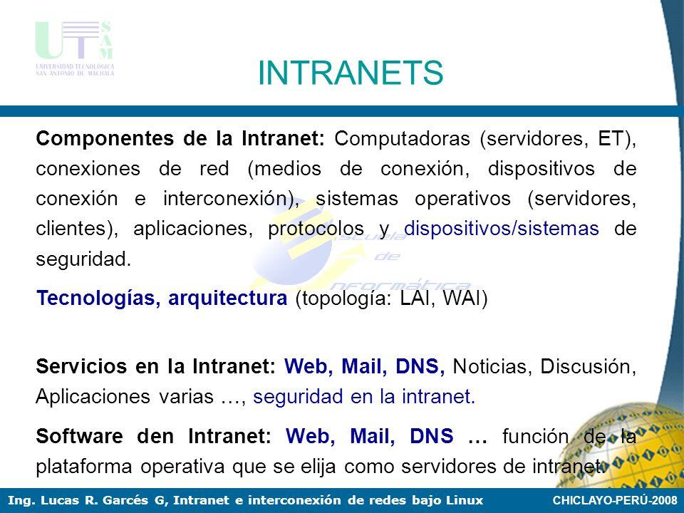 CHICLAYO-PERÚ-2008 Ing. Lucas R. Garcés G, Intranet e interconexión de redes bajo Linux INTRANETS Aplicaciones basadas en Web Red pública insegura TCP