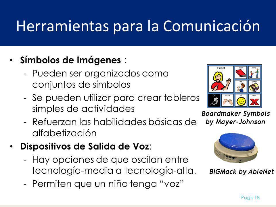 Herramientas para la Comunicación Símbolos de imágenes : -Pueden ser organizados como conjuntos de símbolos -Se pueden utilizar para crear tableros simples de actividades -Refuerzan las habilidades básicas de alfabetización Dispositivos de Salida de Voz : -Hay opciones de que oscilan entre tecnología-media a tecnología-alta.