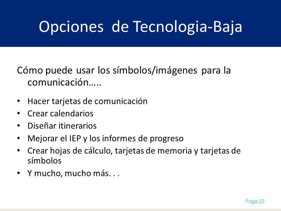 Opciones de Tecnologia-Baja Cómo puede usar los símbolos/imágenes para la comunicación….. Hacer tarjetas de comunicación Crear calendarios Diseñar iti