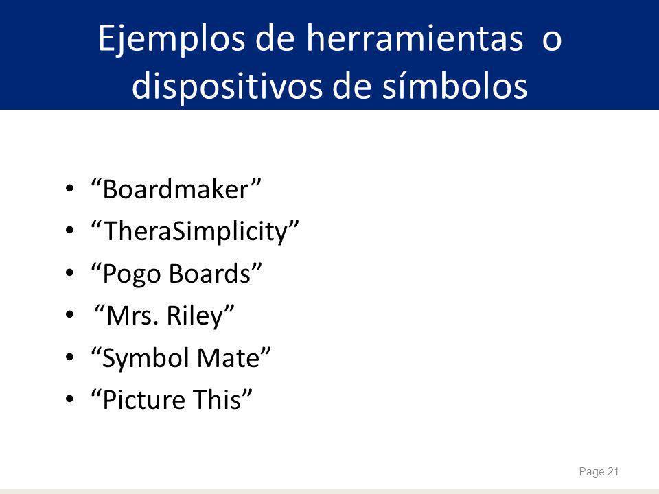 Ejemplos de herramientas o dispositivos de símbolos Boardmaker TheraSimplicity Pogo Boards Mrs.