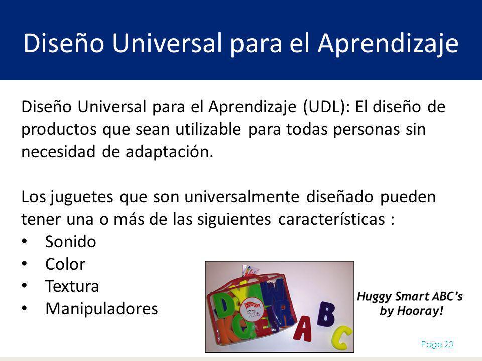 Diseño Universal para el Aprendizaje Page 23 Diseño Universal para el Aprendizaje (UDL): El diseño de productos que sean utilizable para todas personas sin necesidad de adaptación.