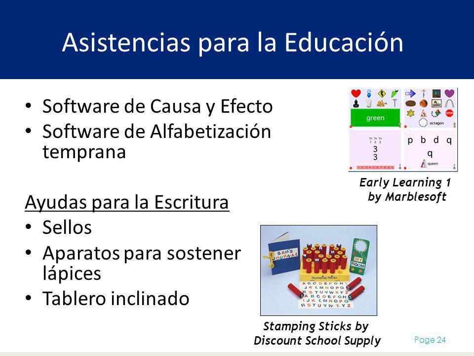 Asistencias para la Educación Software de Causa y Efecto Software de Alfabetización temprana Ayudas para la Escritura Sellos Aparatos para sostener lá