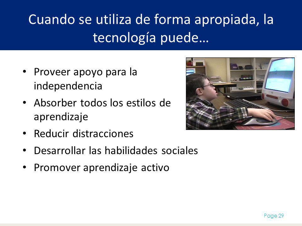 Cuando se utiliza de forma apropiada, la tecnología puede… Proveer apoyo para la independencia Absorber todos los estilos de aprendizaje Reducir distracciones Desarrollar las habilidades sociales Promover aprendizaje activo Page 29
