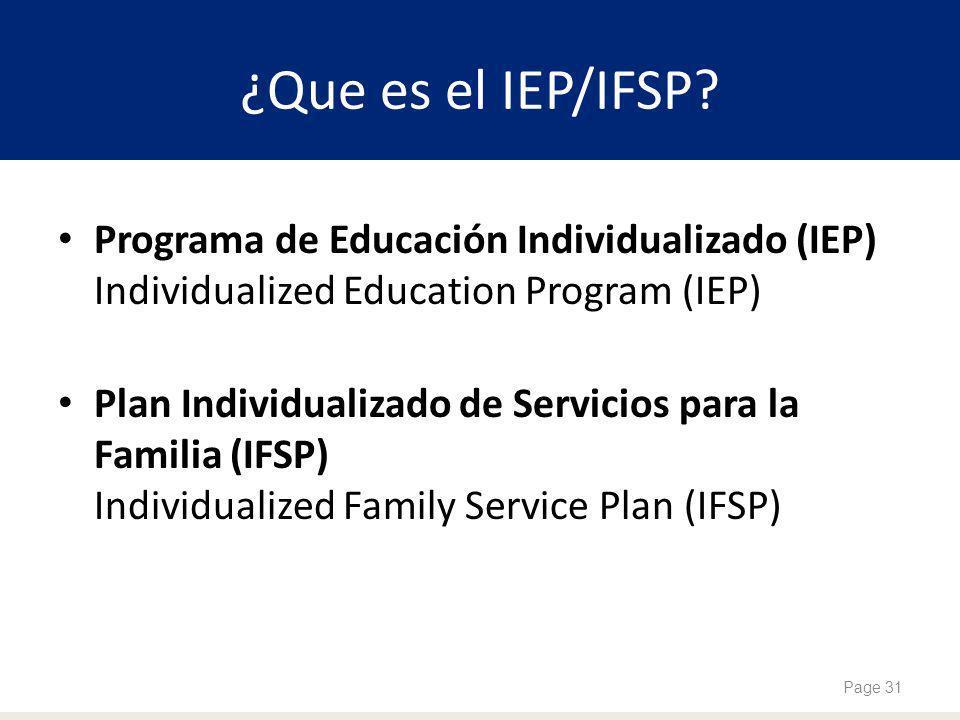 ¿Que es el IEP/IFSP? Programa de Educación Individualizado (IEP) Individualized Education Program (IEP) Plan Individualizado de Servicios para la Fami