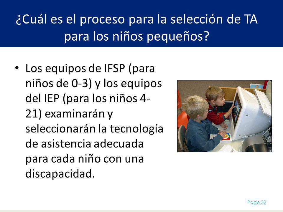 ¿Cuál es el proceso para la selección de TA para los niños pequeños? Los equipos de IFSP (para niños de 0-3) y los equipos del IEP (para los niños 4-