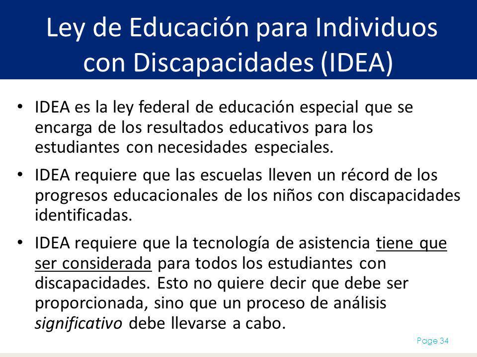 Ley de Educación para Individuos con Discapacidades (IDEA) IDEA es la ley federal de educación especial que se encarga de los resultados educativos pa