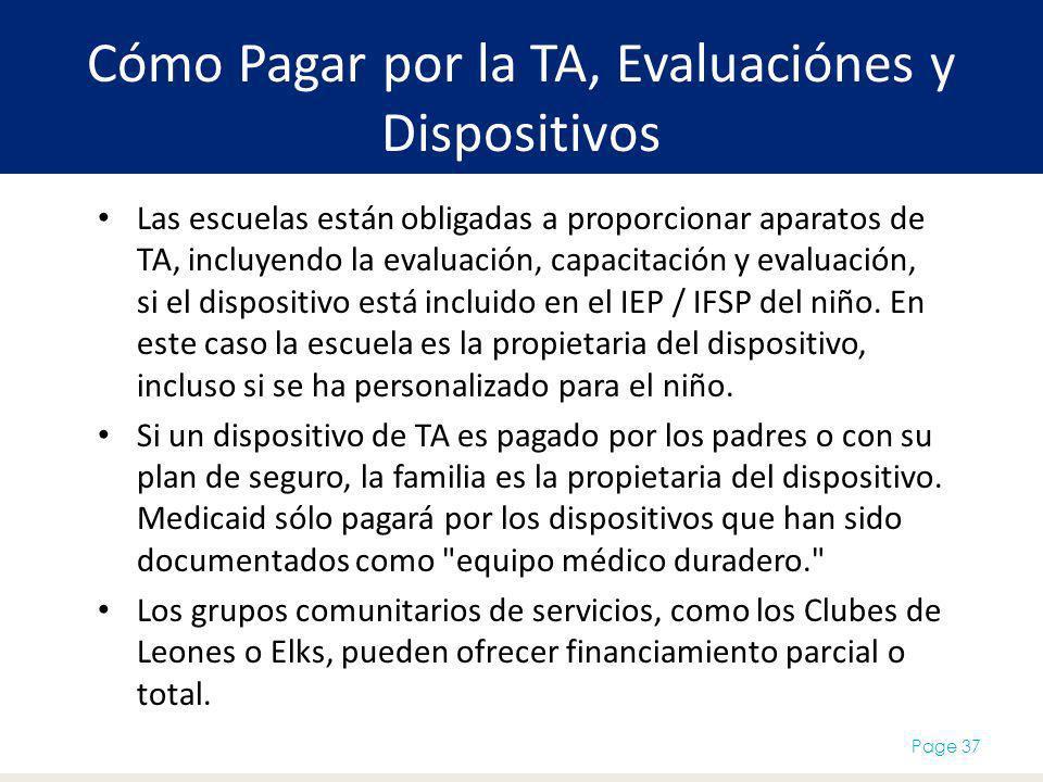 Cómo Pagar por la TA, Evaluaciónes y Dispositivos Page 37 Las escuelas están obligadas a proporcionar aparatos de TA, incluyendo la evaluación, capaci