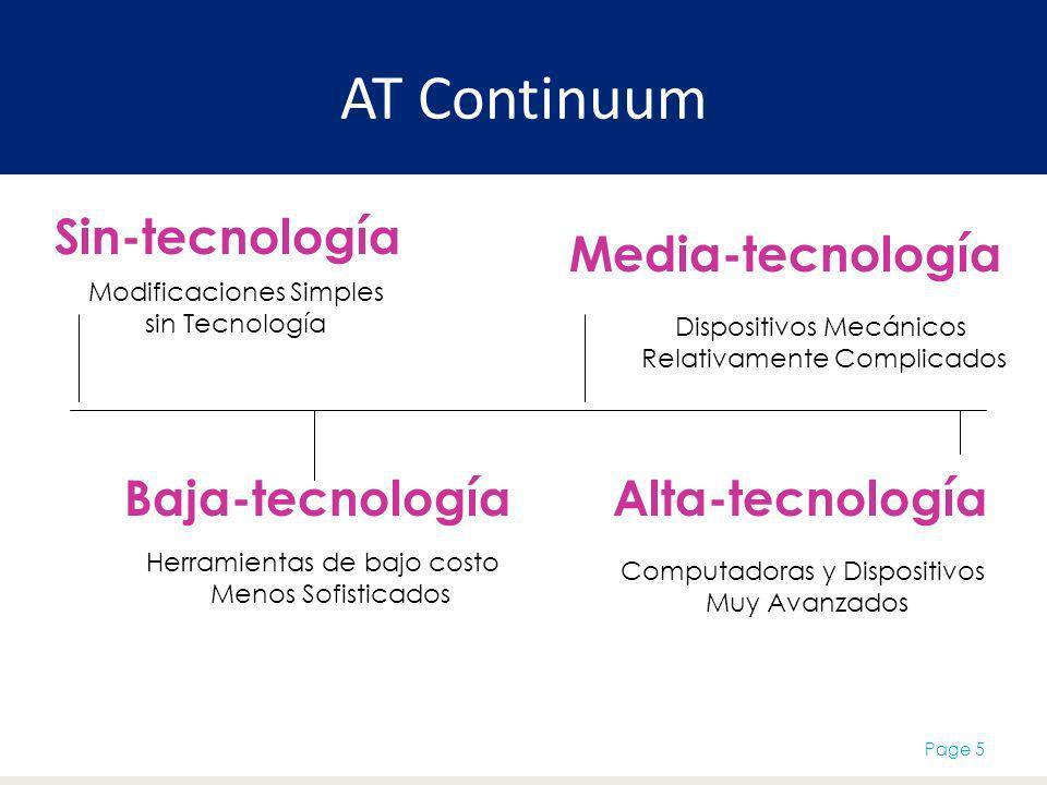 AT Continuum Page 5 Modificaciones Simples sin Tecnología Baja-tecnología Media-tecnología Alta-tecnología Sin-tecnología Dispositivos Mecánicos Relativamente Complicados Herramientas de bajo costo Menos Sofisticados Computadoras y Dispositivos Muy Avanzados
