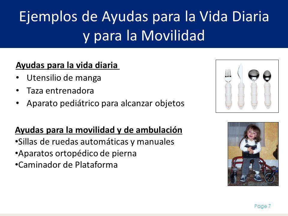 Ejemplos de Ayudas para la Vida Diaria y para la Movilidad Ayudas para la vida diaria Utensilio de manga Taza entrenadora Aparato pediátrico para alca
