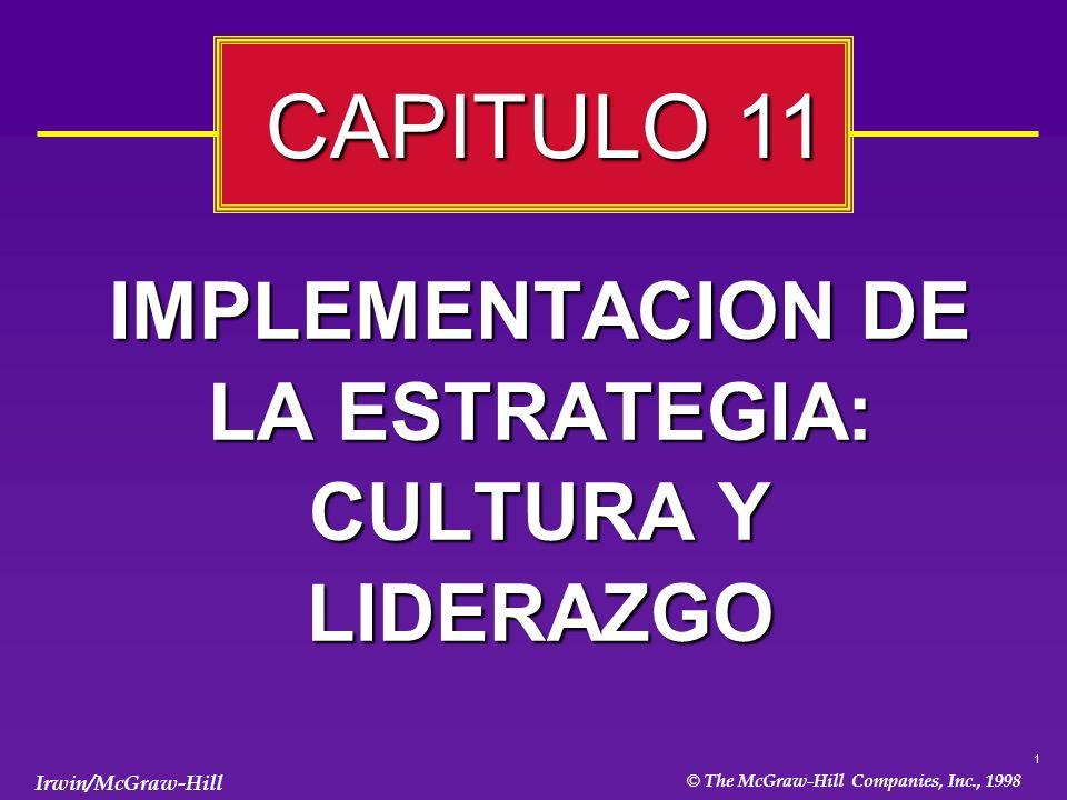 1 © The McGraw-Hill Companies, Inc., 1998 Irwin/McGraw-Hill IMPLEMENTACION DE LA ESTRATEGIA: CULTURA Y LIDERAZGO CAPITULO 11 CAPITULO 11