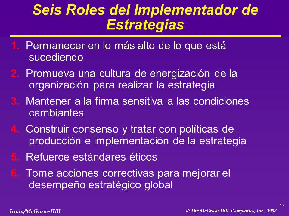 15 © The McGraw-Hill Companies, Inc., 1998 Irwin/McGraw-Hill Seis Roles del Implementador de Estrategias 1.