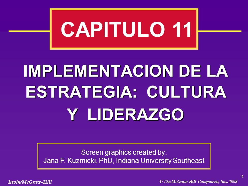 16 © The McGraw-Hill Companies, Inc., 1998 Irwin/McGraw-Hill IMPLEMENTACION DE LA ESTRATEGIA: CULTURA Y LIDERAZGO CAPITULO 11 Screen graphics created