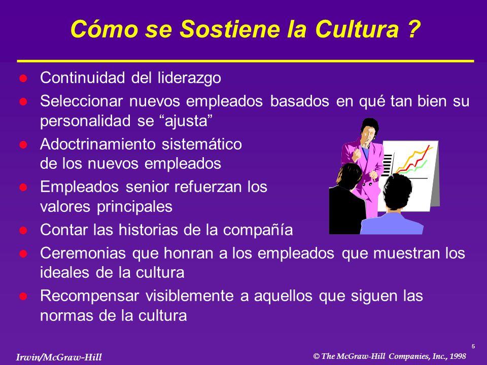 6 © The McGraw-Hill Companies, Inc., 1998 Irwin/McGraw-Hill El Poder de la Cultura l La cultura puede contribuir -- o impedir -- la ejecución exitosa de la estrategia l Los requerimientos para una ejecución exitosa de la estrategia puede -- o no puede -- ser compatible con la cultura l Una unión estrecha entre la cultura y la estrategia promueve su ejecución exitosa