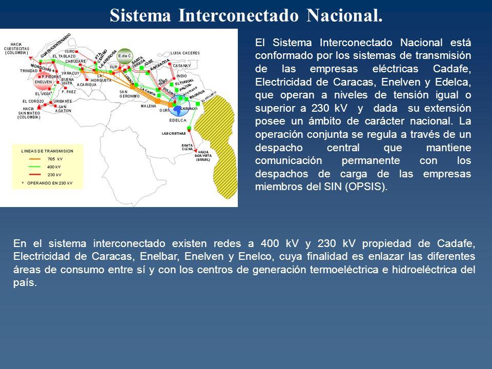 El Sistema Interconectado Nacional está conformado por los sistemas de transmisión de las empresas eléctricas Cadafe, Electricidad de Caracas, Enelven y Edelca, que operan a niveles de tensión igual o superior a 230 kV y dada su extensión posee un ámbito de carácter nacional.