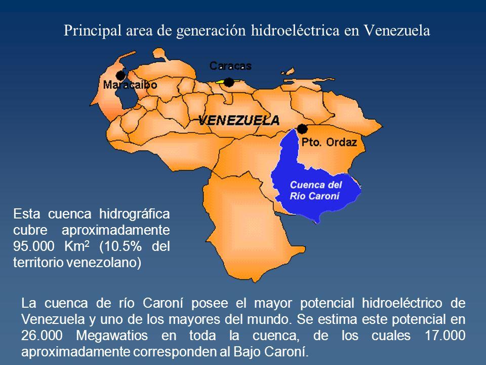 Principal area de generación hidroeléctrica en Venezuela Esta cuenca hidrográfica cubre aproximadamente 95.000 Km 2 (10.5% del territorio venezolano) La cuenca de río Caroní posee el mayor potencial hidroeléctrico de Venezuela y uno de los mayores del mundo.