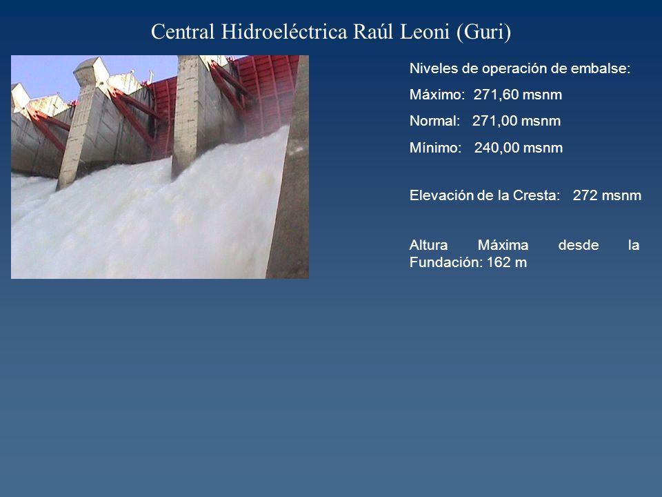 Central Hidroeléctrica Raúl Leoni (Guri) Niveles de operación de embalse: Máximo: 271,60 msnm Normal: 271,00 msnm Mínimo: 240,00 msnm Elevación de la Cresta: 272 msnm Altura Máxima desde la Fundación: 162 m
