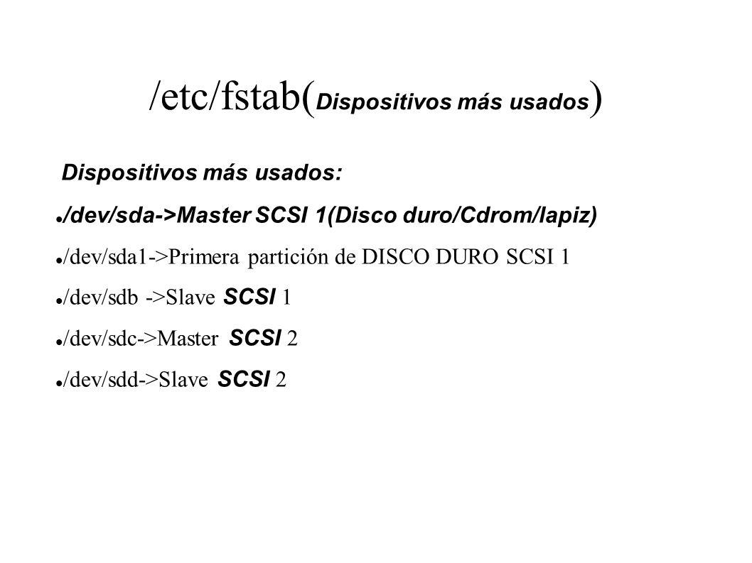 /etc/fstab( Dispositivos más usados ) Dispositivos más usados: /dev/sda->Master SCSI 1(Disco duro/Cdrom/lapiz) /dev/sda1->Primera partición de DISCO D