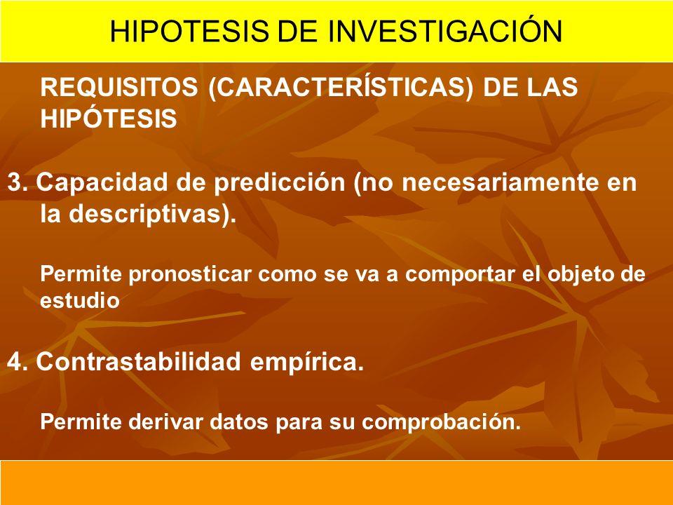 REQUISITOS (CARACTERÍSTICAS) DE LAS HIPÓTESIS 3. Capacidad de predicción (no necesariamente en la descriptivas). Permite pronosticar como se va a comp
