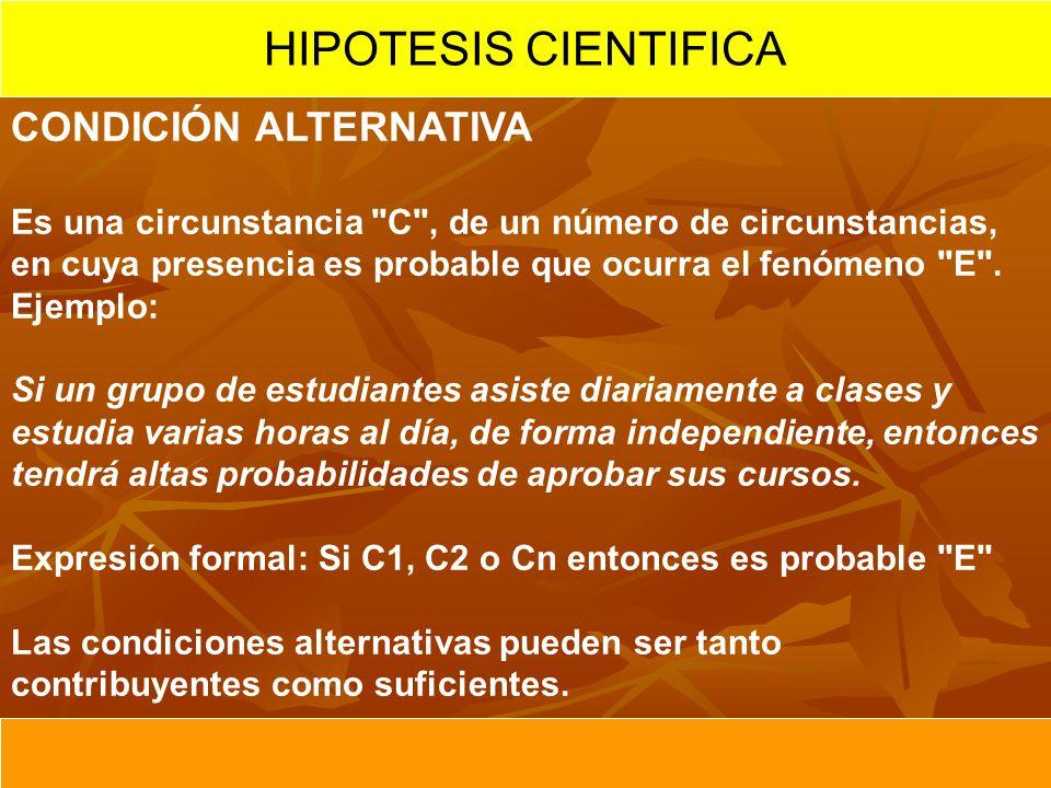 HIPOTESIS CIENTIFICA CONDICIÓN ALTERNATIVA Es una circunstancia
