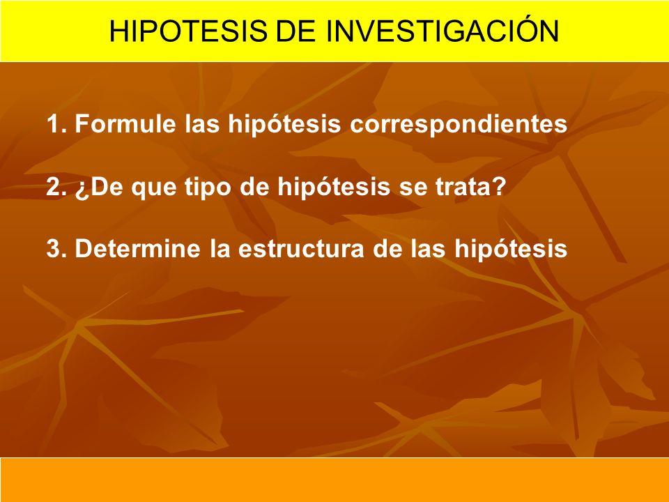 1. Formule las hipótesis correspondientes 2. ¿De que tipo de hipótesis se trata? 3. Determine la estructura de las hipótesis HIPOTESIS DE INVESTIGACIÓ