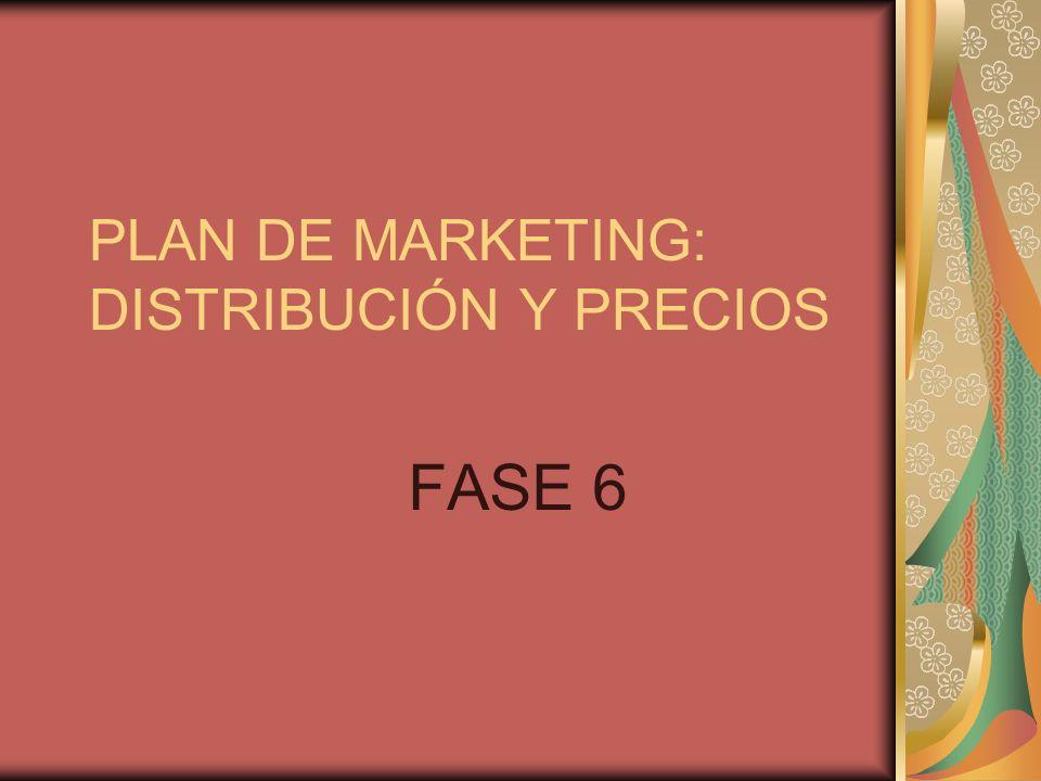 PLAN DE MARKETING: DISTRIBUCIÓN Y PRECIOS FASE 6