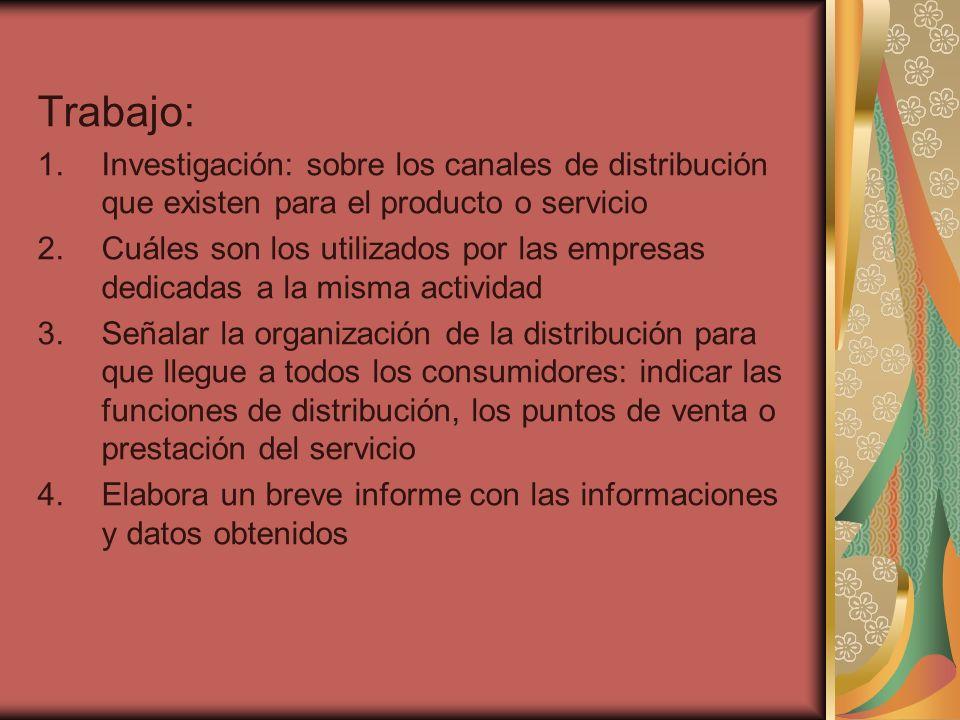 Trabajo: 1.Investigación: sobre los canales de distribución que existen para el producto o servicio 2.Cuáles son los utilizados por las empresas dedic