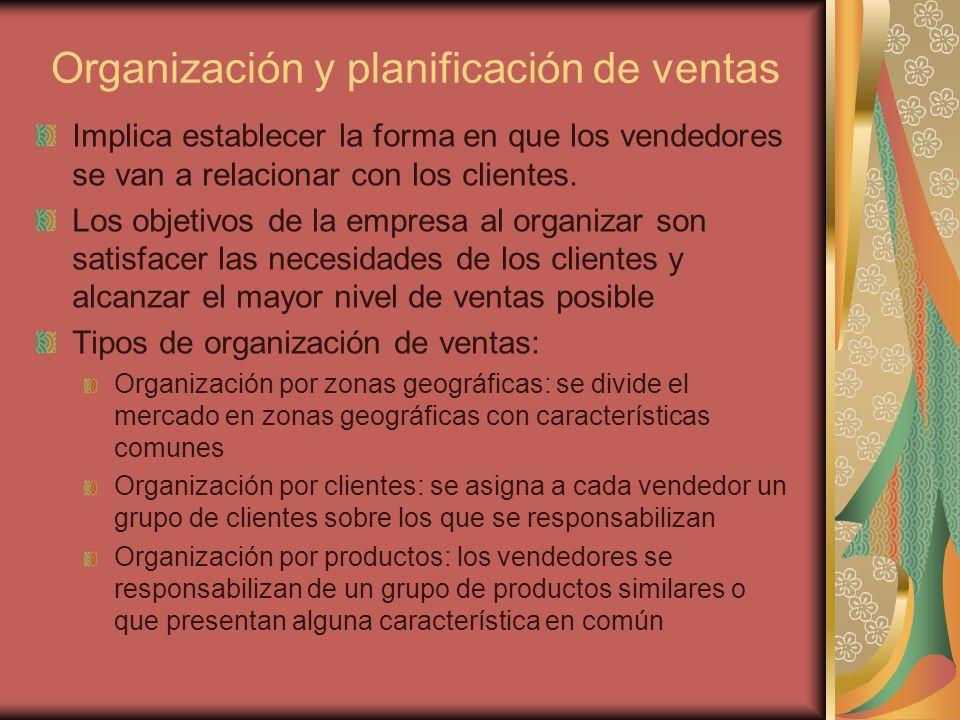Organización y planificación de ventas Implica establecer la forma en que los vendedores se van a relacionar con los clientes. Los objetivos de la emp