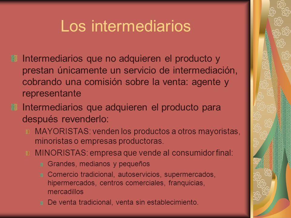 Los intermediarios Intermediarios que no adquieren el producto y prestan únicamente un servicio de intermediación, cobrando una comisión sobre la vent