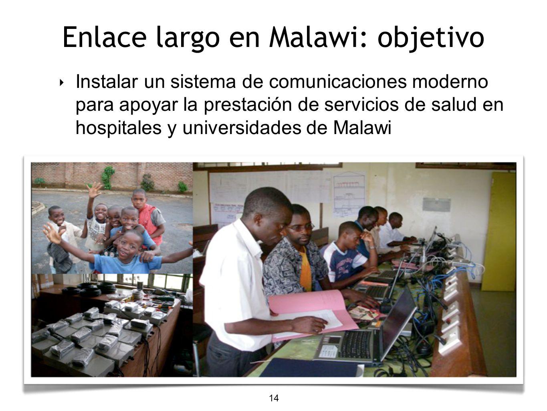14 Enlace largo en Malawi: objetivo Instalar un sistema de comunicaciones moderno para apoyar la prestación de servicios de salud en hospitales y univ