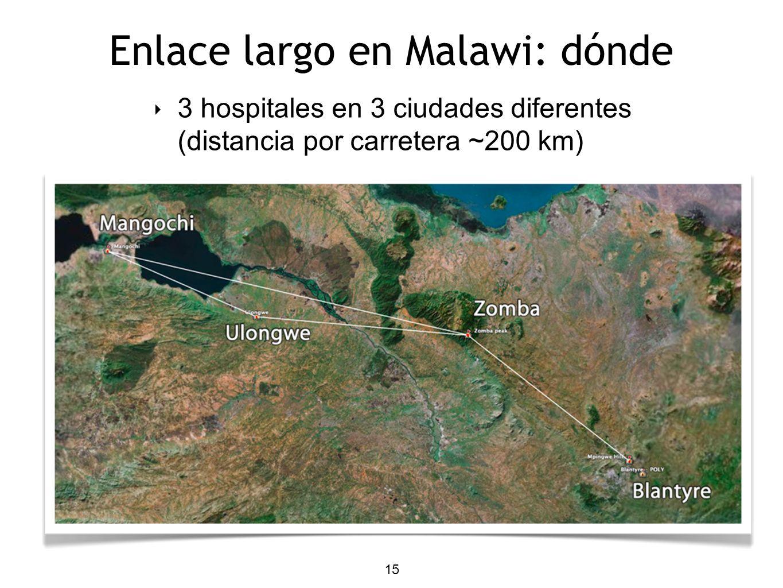 15 Enlace largo en Malawi: dónde 3 hospitales en 3 ciudades diferentes (distancia por carretera ~200 km)