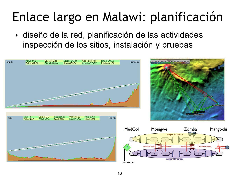 16 diseño de la red, planificación de las actividades inspección de los sitios, instalación y pruebas Enlace largo en Malawi: planificación